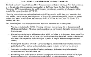 NY Health Plans RESPOND TO CORONAVIRUS CRISIS