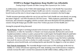 NYHPA to Budget Negotiators: Keep Health Care Affordable