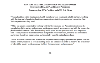 NYHPA press release on executive order suspending health plan review processes